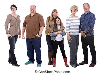 casual group of people - six people wearing casual outfits...