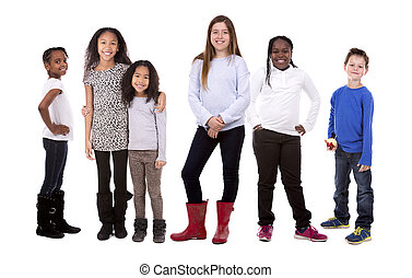 casual group of children - six people wearing casual outfits...