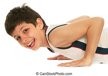 Sporty boy pushing up - A sporty boy is pushing up; isolated...
