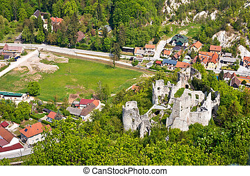 Samobor fortress ruins and landscape aerial view, northern...