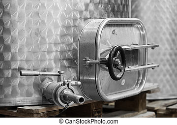 modern equipment for the production of wine close-up