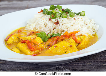 Curried Coconut Chicken with red pepper and rice