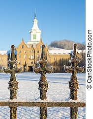 Railings in snow outside Trans-Allegheny Lunatic Asylum -...
