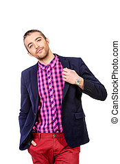 every day look - Happy young man in stylish bright clothes...
