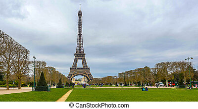 Eiffel Tower on Champ de Mars in Paris France, Travel...