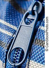zip macro - blue closed zip macro closeup