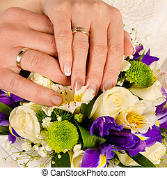 wedding hands with rings and bouquet