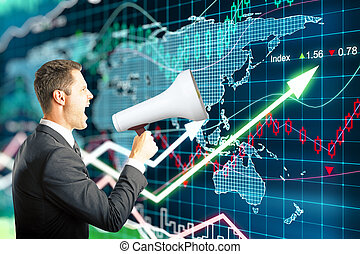 Megaphone forex background - Businessman screaming into a...