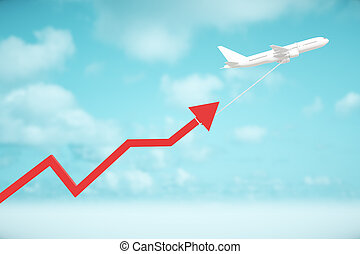 Airplane dragging chart arrow - Airplane dragging red chart...