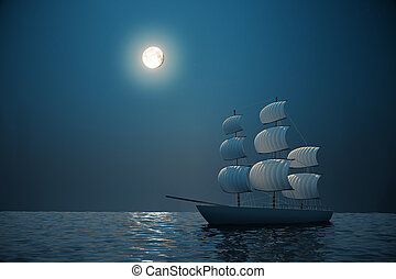 Ship at night - Ship on water with night sky and moon in the...