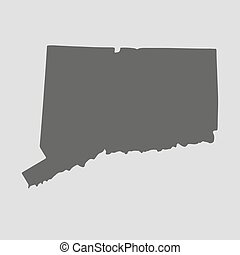 Black map state Connecticut - vector illustration - Black...
