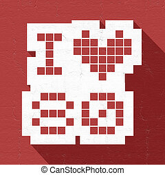 red love 80 icon - Creative design of red love 80 icon