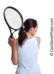 Woman playing tennis isolated