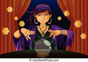 Fortune Teller Reading Crystal Ball - A vector illustration...
