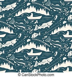 Seamless pattern for fishing theme With...