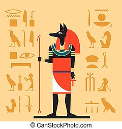 Anubis flat banner - Vector image of the Anubis the god of...