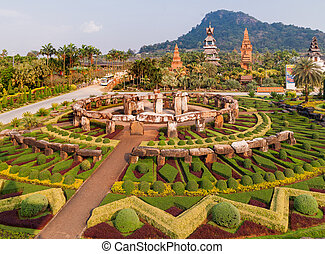 Nong Nooch Tropical Garden in Pattaya, Thailand. Panorama...