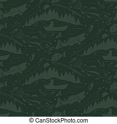 Seamless pattern for fishing theme. With...