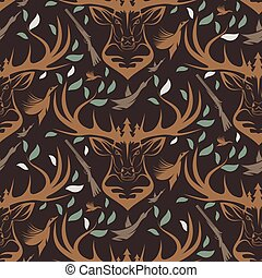 Seamless pattern for hunting theme. With deer, duck, gun,...