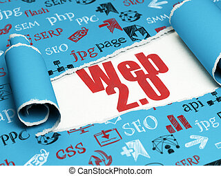 Web development concept: red text Web 20 under the piece of...