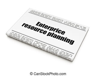 Business concept: newspaper headline Enterprice Resource Planning