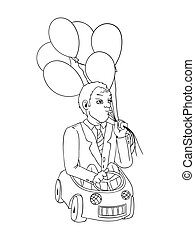 Man with balloons in the toy car , cartoon vector concept