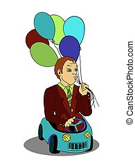 Man with balloons in the toy car cartoon vector logo