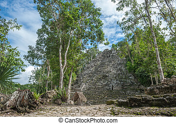 La Iglesia or The Church Pyramid, Coba ruins, Quintana Roo,...