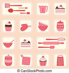 Vector pattern on baking theme - Cute vector pattern on...