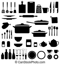Vector silhouette of kitchen tools - Vector silhouettes of...