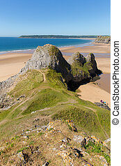 Three Cliffs Bay the Gower Wales uk in summer sunshine...