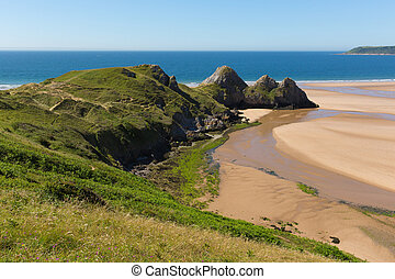Three Cliff Bay the Gower Wales uk - Three Cliffs Bay the...