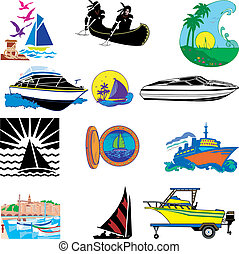 Boats - Vector Illustration of 12 different types of Boats