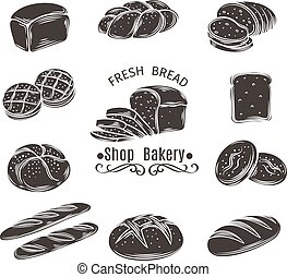 Icons bread and bakery. Monochrome isolated vector icons of...