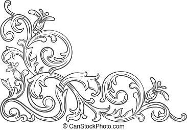 Baroque vintage corner - Baroque corner Retro scroll...