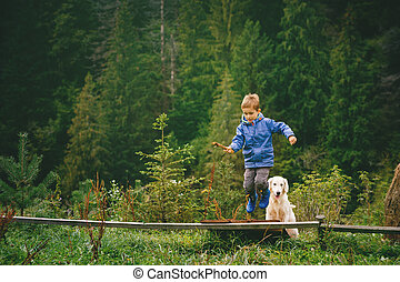 Boy with his pet in the forest - Little boy playing with a...