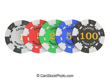 Casino tokens row, 3D rendering