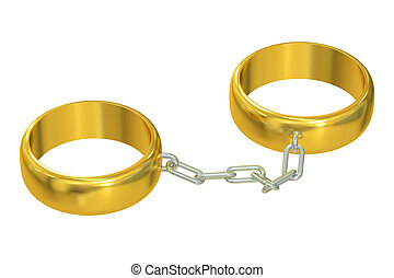 Wedding gold rings connected chain, 3D rendering