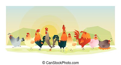 Animal background with chickens - Animal background with...