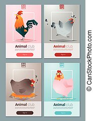 Set of templates with chicken for web design 1 - Set of...