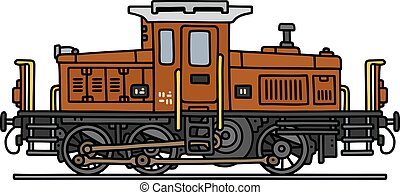 Old small diesel locomotive - Hand drawing of a classic...