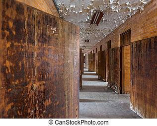 Long corridor inside Trans-Allegheny Lunatic Asylum - Empty...
