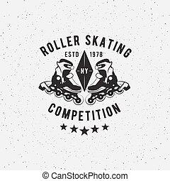 Retro Vintage roller skating Label. - Retro Vintage roller...