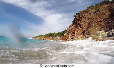 Sea waves. Mediterranean Sea, Turkey. Wide angle view.