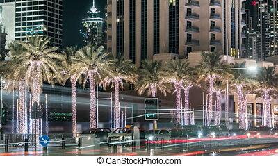 dubai city night illumination traffic road junction 4k...