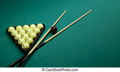 billiard balls on the table with the cue wiring from left to...