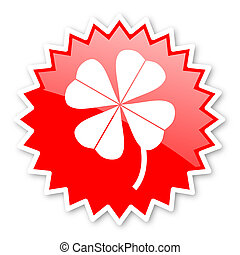 four-leaf clover red tag, sticker, label, star, stamp,...