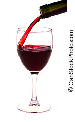 Red wine pouring from a wine bottle isolated on white...
