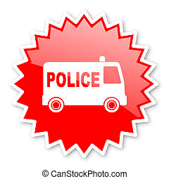police red tag, sticker, label, star, stamp, banner,...