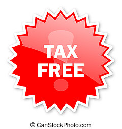tax free red tag, sticker, label, star, stamp, banner,...